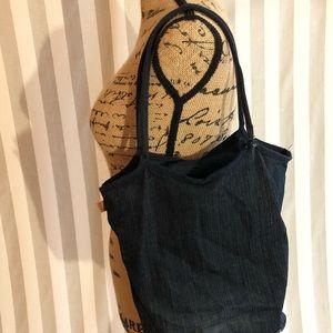 FCUK French Connection denim shoulder purse bag